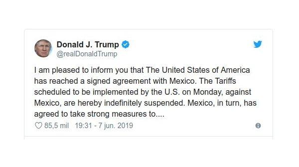 trump tweet acuerdo mexico